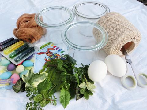 Materialien für die bunten Ostereier
